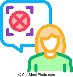 woman refusal mark icon vector. woman refusal mark sign. color symbol illustration
