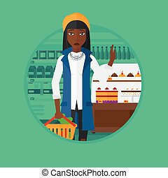 Woman refusing junk food vector illustration.