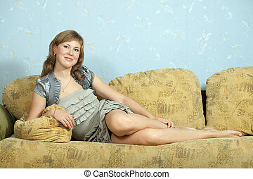 woman relaxation in apartment