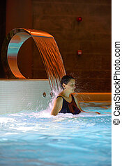 Woman relaxation in pool