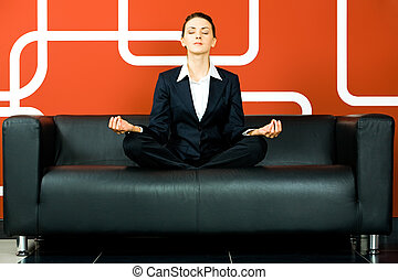 Woman relaxed - Portrait of business woman meditating on the...