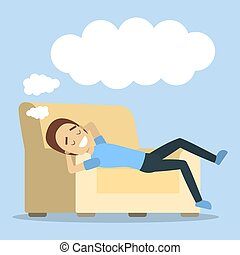 Woman relaxing and dreaming.