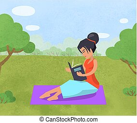 Woman Relaxing in Park Reading Book on Blanket