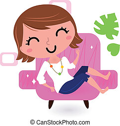 Woman relaxing in sofa isolated on white - Cute young girl...