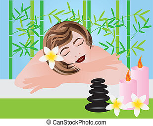 Woman Relaxing in Spa Illustration - Woman Relaxing in Spa...