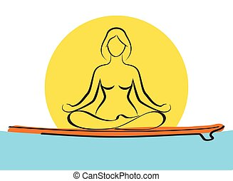 Woman relaxing in yoga pose on baddle board on water. Stand ...
