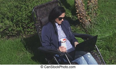 Woman relaxing on chair in garden