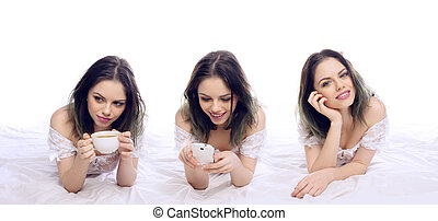 Woman relaxing on her bed in three poses