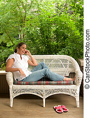 Woman Relaxing Porch