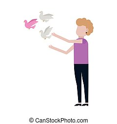 Woman Releases Dove icon isolated on white background