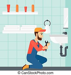 Woman repairing sink. - A woman sitting in a bathroom and ...