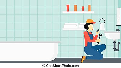 Woman repairing sink. - An asian woman sitting in a bathroom...