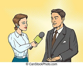 Woman reporter interviewing man comic book vector