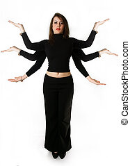 Woman resources - Mythical woman has six hands against the...