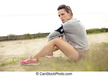 Woman Resting After Summer Workout