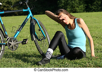 Woman resting after training