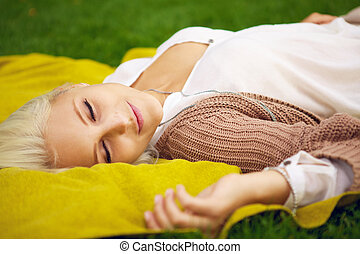 Woman resting in a park