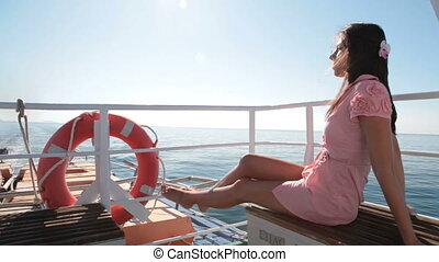 woman resting on the deck
