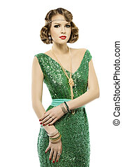 Woman retro fashion portrait in sparkle sequin dress elegant