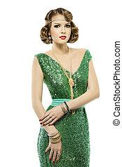 Woman retro fashion portrait in sparkle sequin dress elegant