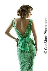 Woman retro fashion sparkle sequin dress, elegant vintage style