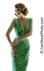 Woman retro in fashion sparkle sequin dress, elegant vintage