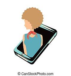 woman retro in smartphone