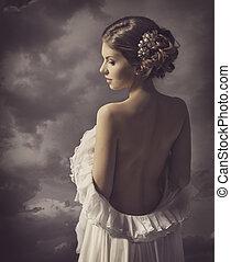 Woman retro portrait, girl back, elegant artistic