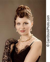 Woman retro revival portrait. Elegant women