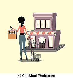 woman shopping bag and cart store retro vector illustration