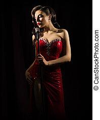 Woman retro style singer