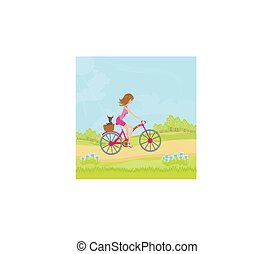 woman riding a bike in a park