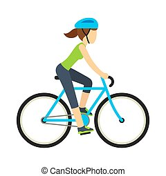 Woman riding bicycle, flat cartoon vector style. Health and ...