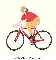 Woman riding bicycle, girl on bike vector.
