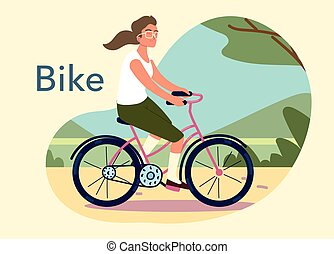 woman riding bicycle outdoor