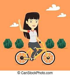 Woman riding bicycle vector illustration.