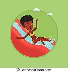 Woman riding down waterslide vector illustration.