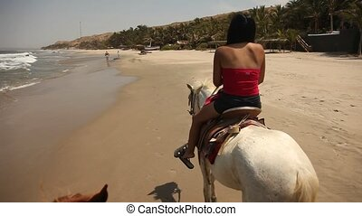 Woman Riding Horse At Beach
