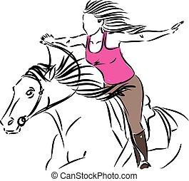 WOMAN RIDING HORSE liberty concept