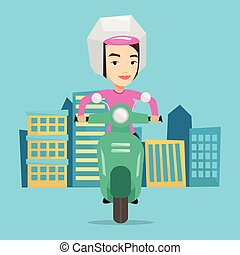 Woman riding scooter in the city.