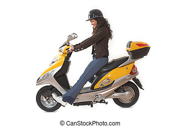 woman riding scooter - woman with helmet riding electric...
