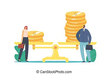 Woman Rights, Feminism, Gender Inequality, Sex Discrimination Concept. Businessman and Businesswoman Stand near Scales