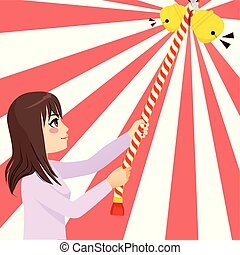 Woman Ringing Japanese Bell