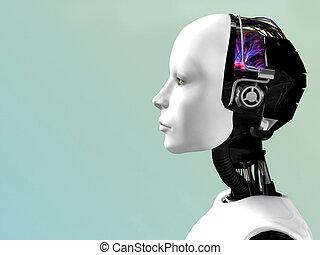 woman., robot, arc
