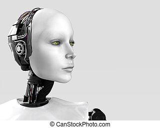 woman., roboter, gesicht
