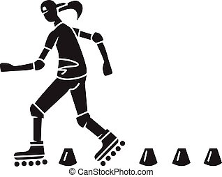 Woman roller skater icon, simple style
