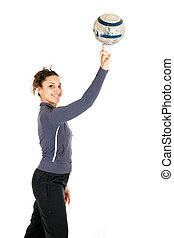 woman rolling ball