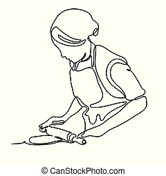 Woman rolling dough with rolling pin. Continuous line drawing. Isolated on the white background. Vector monochrome, drawing by lines.