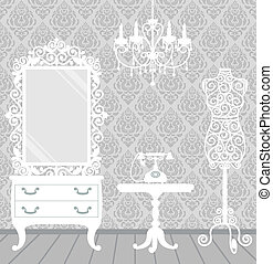 Woman room in vintage, boudoir style - Women's room in...