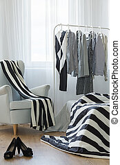 Woman room with clothes rack - New woman room with clothes...